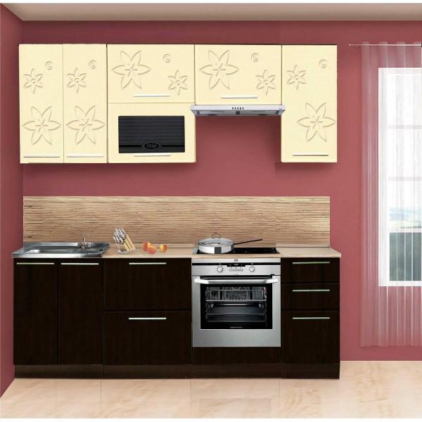 Кухня Цветочная (Венге темный+бежевый) 1,6м